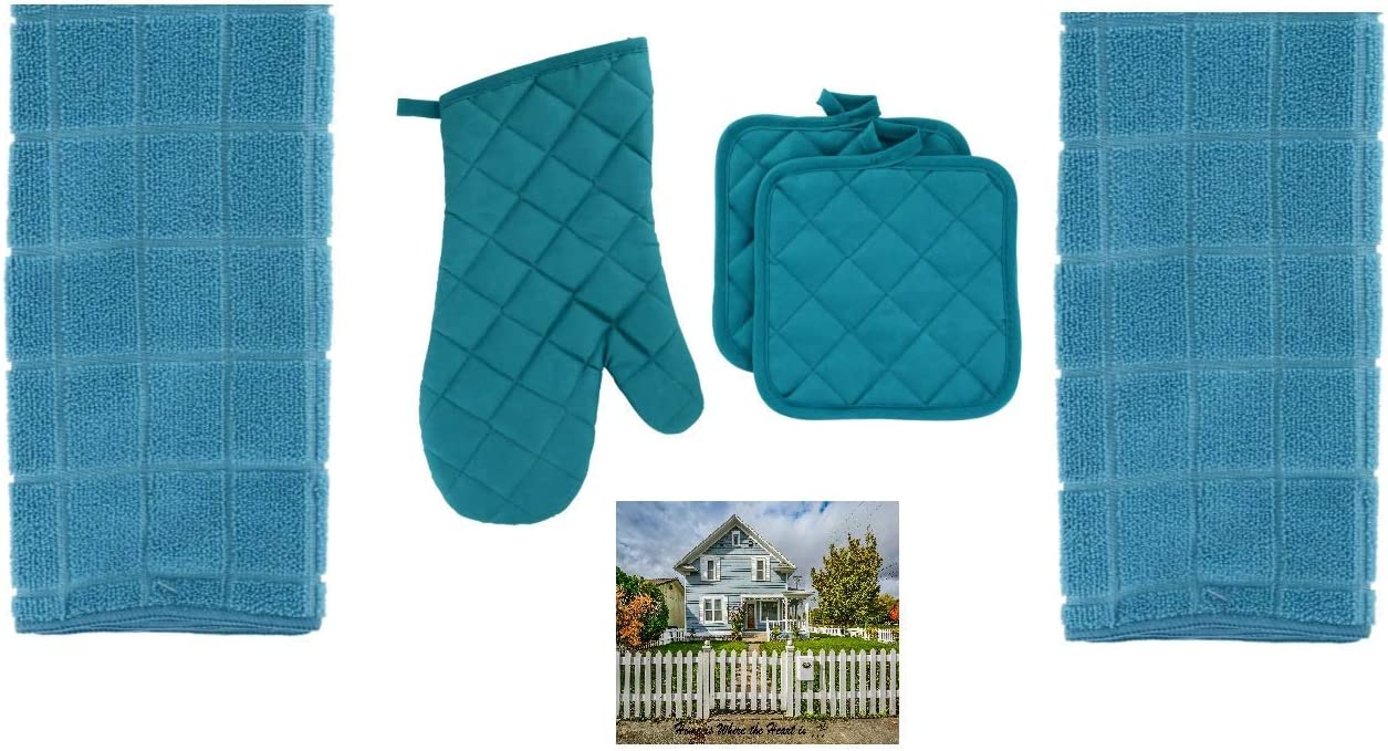 Home Collection Teal Kitchen Dish Towel Set - 1 Quilted Teal Oven Mitt, 2 Pot Holders, and 2 Microfiber Kitchen Dish Towels, Turquoise, 5 Piece Set and Magnet for Refrigerator