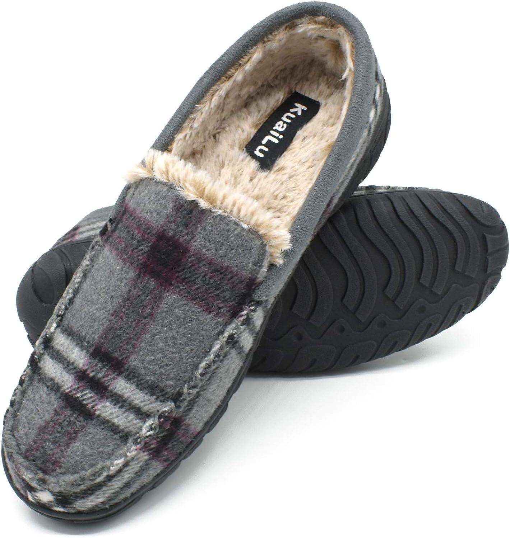 KuaiLu Zapatillas de Estar En Casa Hombre Invierno Cálido Forro de Felpa Zapatillas de Moccasin Espuma de Memoria de al Aire Libre Antideslizante Suela Tallas del 40 al 48