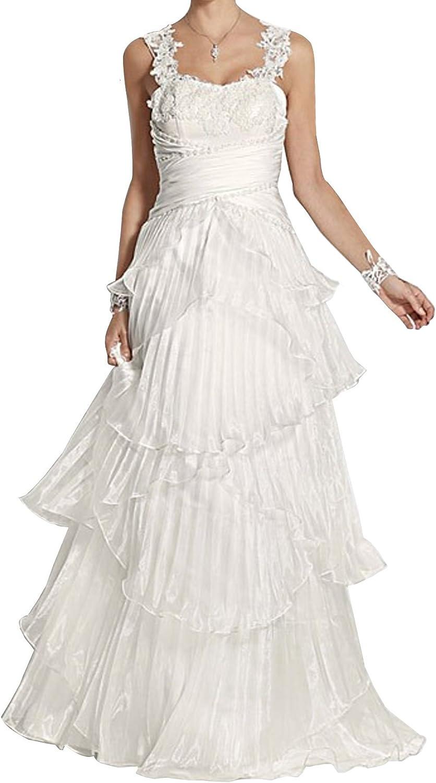 Heine Brautkleid mit Spitze Stickerei Perlen Hochzeitskleid Creme Kleid  Abendkleid Ballkleid