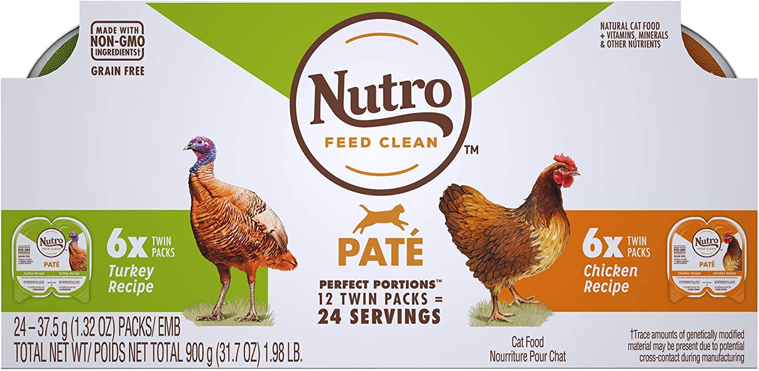 Nutro Perfect Portions Pate Multi-Pack Real Chicken & Turkey Wet Cat Food, 1.98 lbs., Count of 12