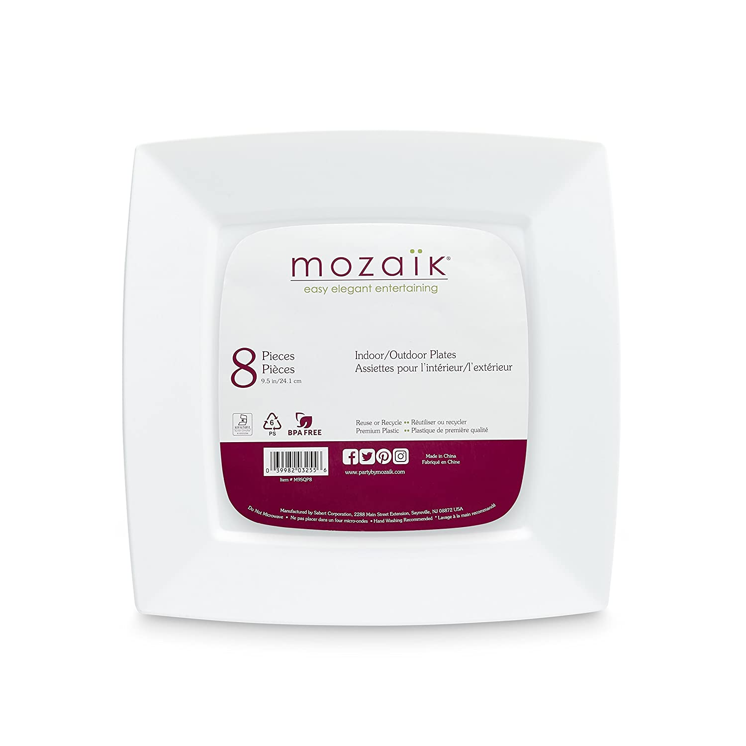Mozaik Premium Plastic 128oz. White Square Serving Bowl IMBM128