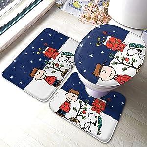Christmas Cartoon Snoopy Bath Mat 3 Piece Set Bathroom Carpet Set Soft Anti-Skid Pads Bath Mat + Contour Pads + Toilet Lid Cover, Absorbent Carpet Bath and Mat Anti-Slip Pads Set