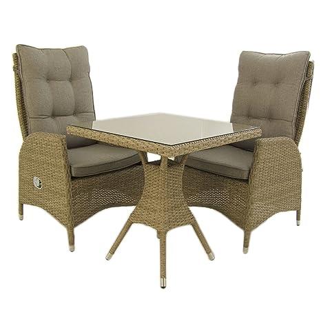 Edenjardi Conjunto Muebles Exterior, Mesa Cuadrada 70 cm y 2 sillones reclinables, Aluminio y rattán sintético Plano Color Natural, 2 plazas, Cristal ...
