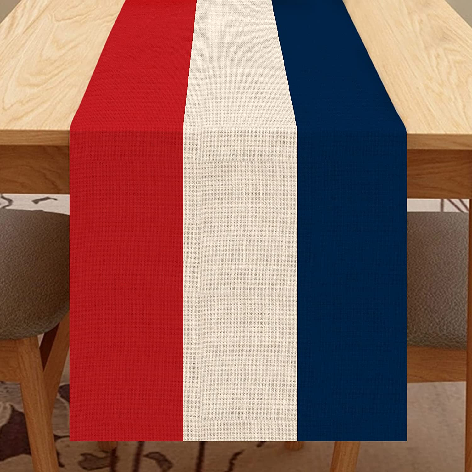 Seliem Red White Blue American Table Runner, Patriotic Table Scarf Home Kitchen July 4th USA Decor Sign, Summer Memorial Day Farmhouse Dining Decorations Independence Day Party Supplies 13 X 72 Inch