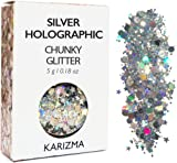 Silver Holographic Chunky Glitter ✮ KARIZMA BEAUTY ✮ Festival Glitter Cosmetic Face Body Hair Nails