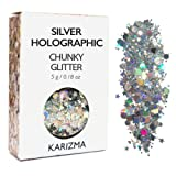 Amazon Price History for:Silver Holographic Chunky Glitter ✮ COSMETIC GLITTER ✮ Festival Face Body Hair Nails