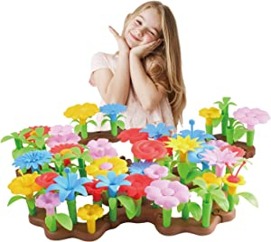 Bfuntoys 73Pcs Flower Garden Building Toys for Girls 2 3 4 Year Old, Indoor Stacking Game Pretend Playset for Toddler, Educational Preschool Activities STEM Toy Gardening Gifts for Kids and Children