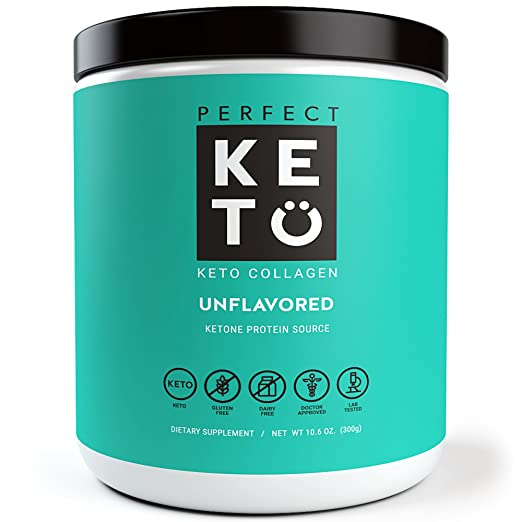 Perfect Keto Protein Powder - Pure Grass-fed Collagen Peptides and MCT Oil Low Carb Protein Powder - Vital For Ketosis and Ketogenic Diets - Unflavored