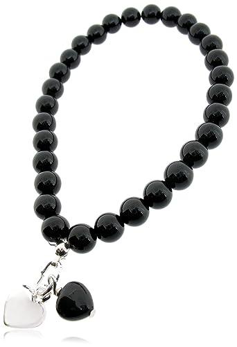 Elements Silver B2934B Ladies' Black Onyx Bead and Black Cubic Zirconia Drop Stretch Sterling Silver Bracelet yyHhJJeJ