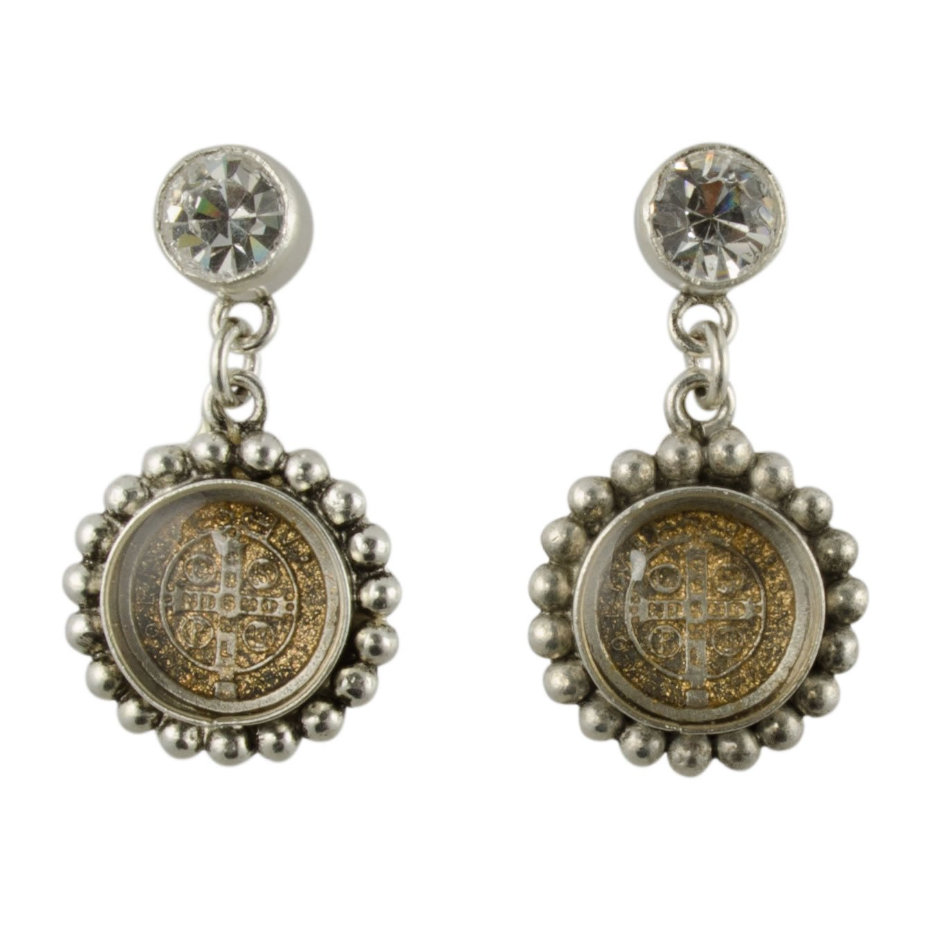 San Benito Magdalena Post Earrings - Silver, Diamond Crystal - VSA - Virgins Saints Angels Jewelry