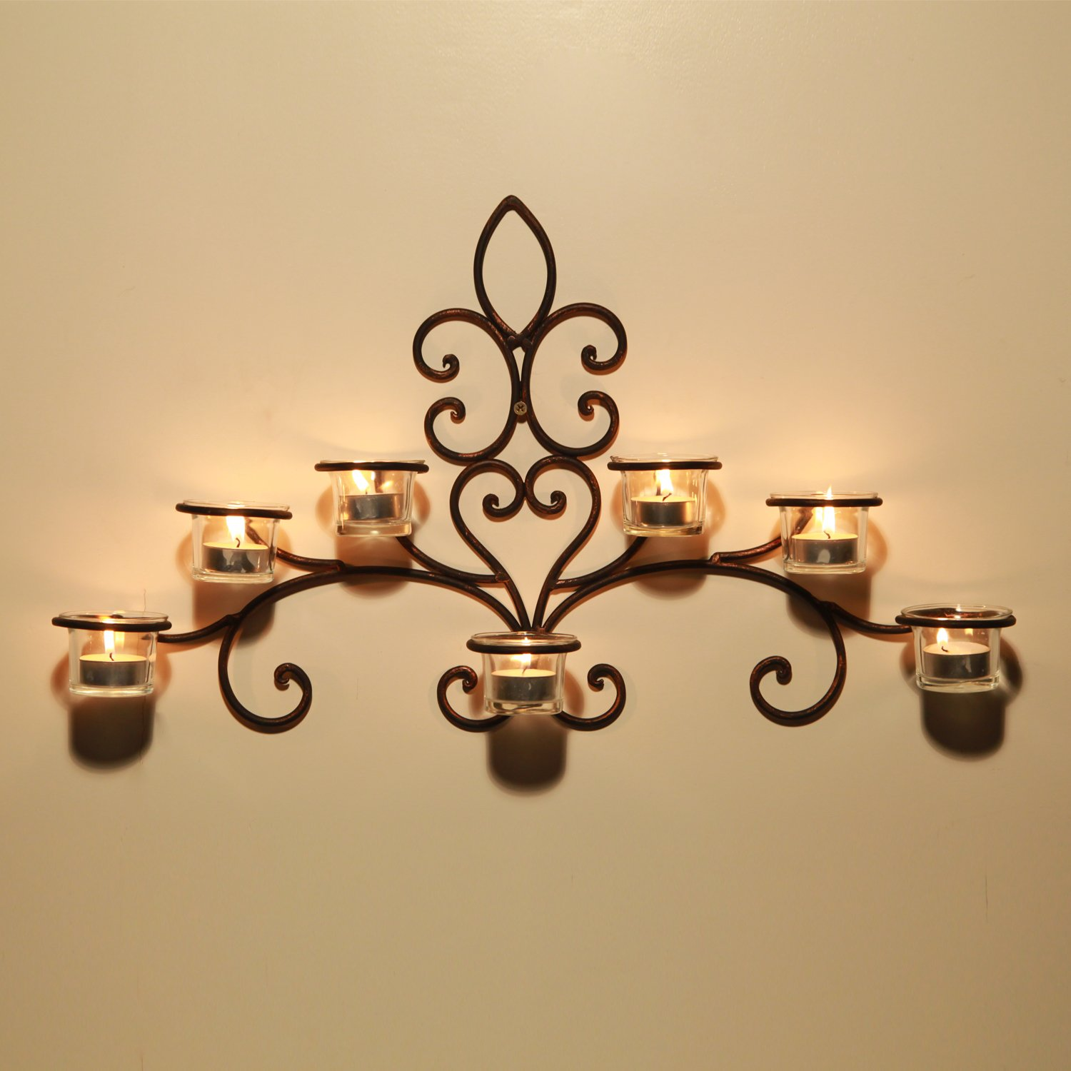 Wall sconces candle amazoncom gifts u0026 decor bedazzling amazoncom adeco hd0012 iron u0026 glass horizontal wall hanging candle holder sconce scolled vine detail holds 7 tea lights black with antique finish home mozeypictures Images