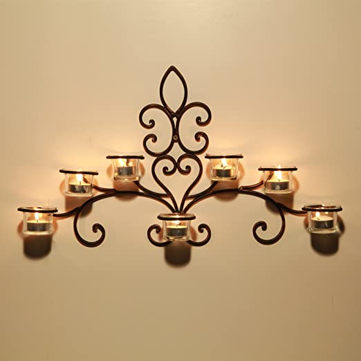 Amazon.com: Adeco HD0008 Iron & Glass Horizontal Wall Hanging Candle ...
