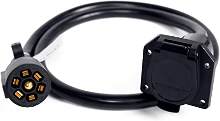 Proline Power 7-Way Trailer Plug Socket Extension Cable with 7-Blade Wiring Connector 2 Foot