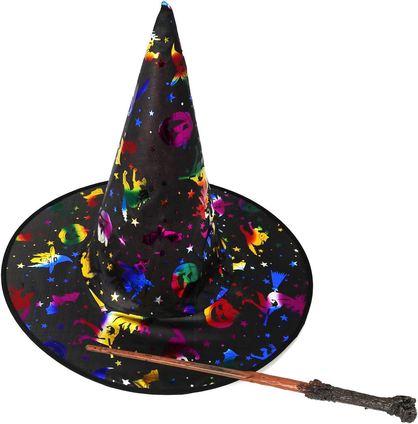 com-four® Conjunto de Disfraces de 2 Piezas con Sombrero de Bruja y Varita para niños para Carnaval, Carnaval y Halloween (02 Piezas - Sombrero de Bruja + Varita)