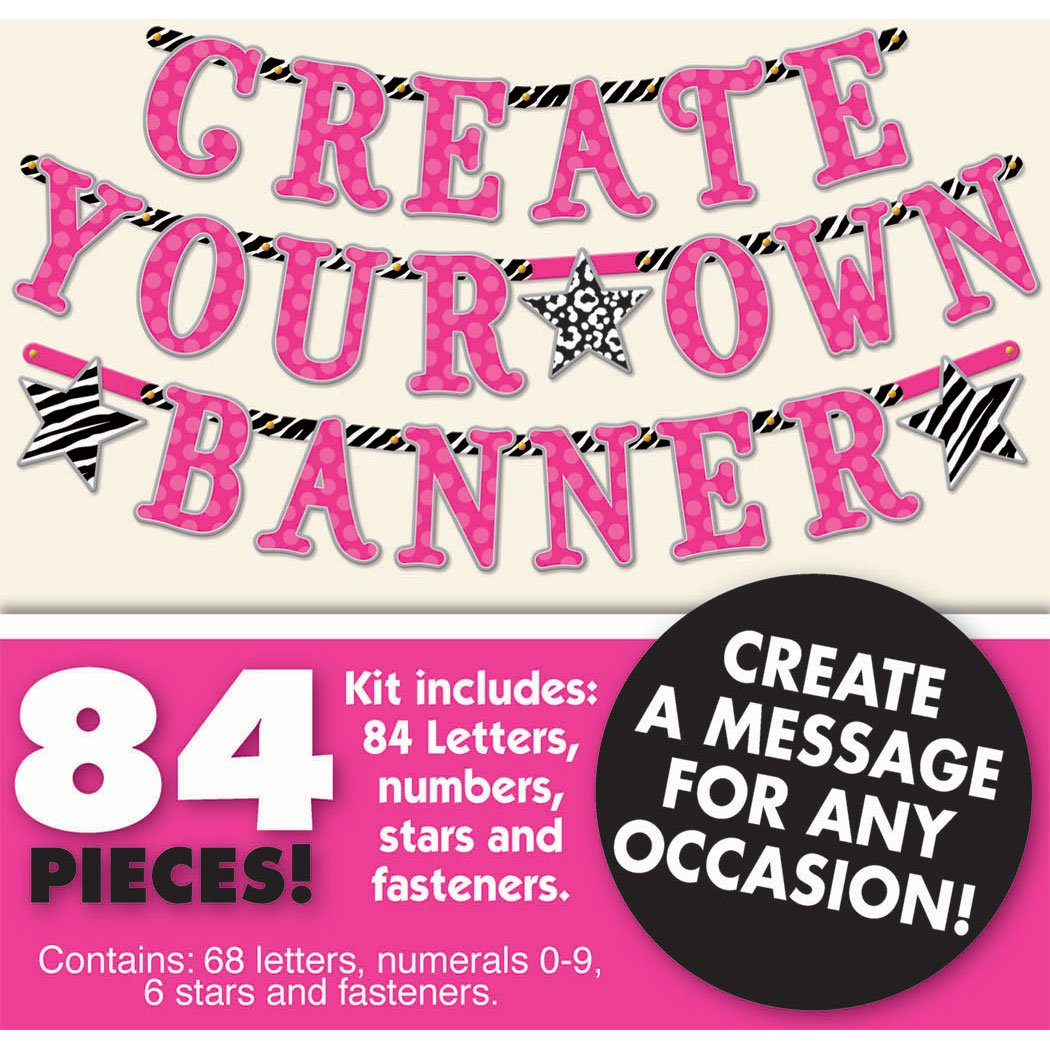 amazoncom create your own banner kit any message birthday party 84 pieces zebra hot pink toys games