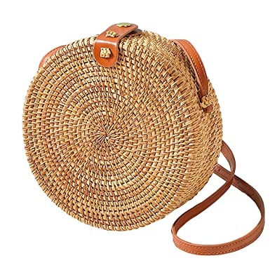 65553d345f3708 Round Rattan Bags, Handmade Bali Ata Straw Woven Circle Crossbody Handag  for Women with Shoulder Leather Strap: Handbags: Amazon.com