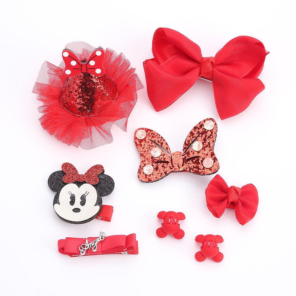 finsink 8pcs niña Pasador de Pelo joyas de pelo Minnie lazo Caja de Regalo, color rojo