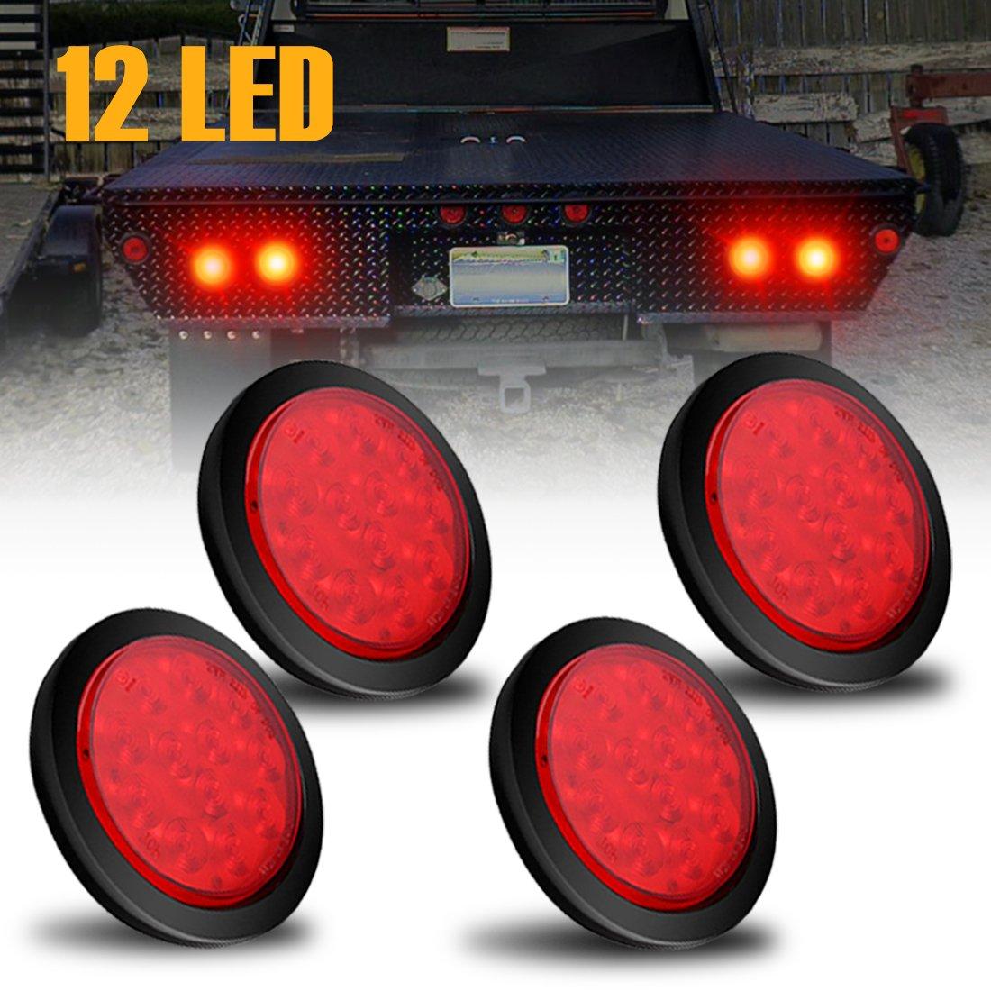 AMBOTHER 4'' Round 12-LED Truck Trailer Brake Stop Turn Marker Tail Light Flush Mount Back-Up Low Profile Light, Waterproof Tight Sealed Grommet Plug for RV Boat Truck Trailer Red DC 12V (Pack of 4)