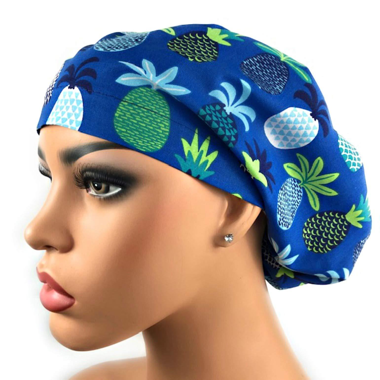 Surgical Scrub Hat Blue Pineapples Scrub Cap by DK Scrub Hats