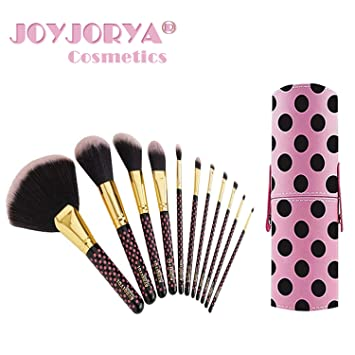 f040739e0325 Makeup Brush Set with Travel Tube Container Holder Make up Brushes Set of 11  Pieces Pink