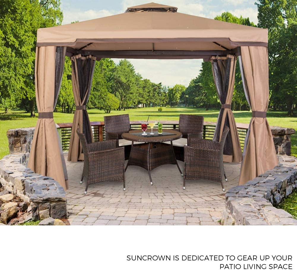 Suncrown - Juego de muebles de mimbre de diseño moderno para el aire libre, para todo tipo de clima, (patio, porche, jardín, piscina) con cojines lavable (5 piezas: mesa de comedor, sillas,