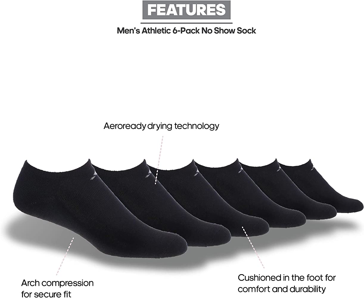 adidas Men's Athletic Cushioned No Show