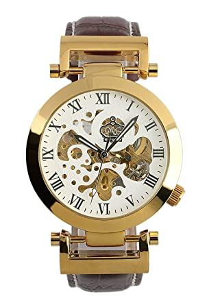 Carrie Hughes Mens Luxury Gold Automatic Mechanical Watch Stainless Steel Leather Strap CH270 (CH270GW)