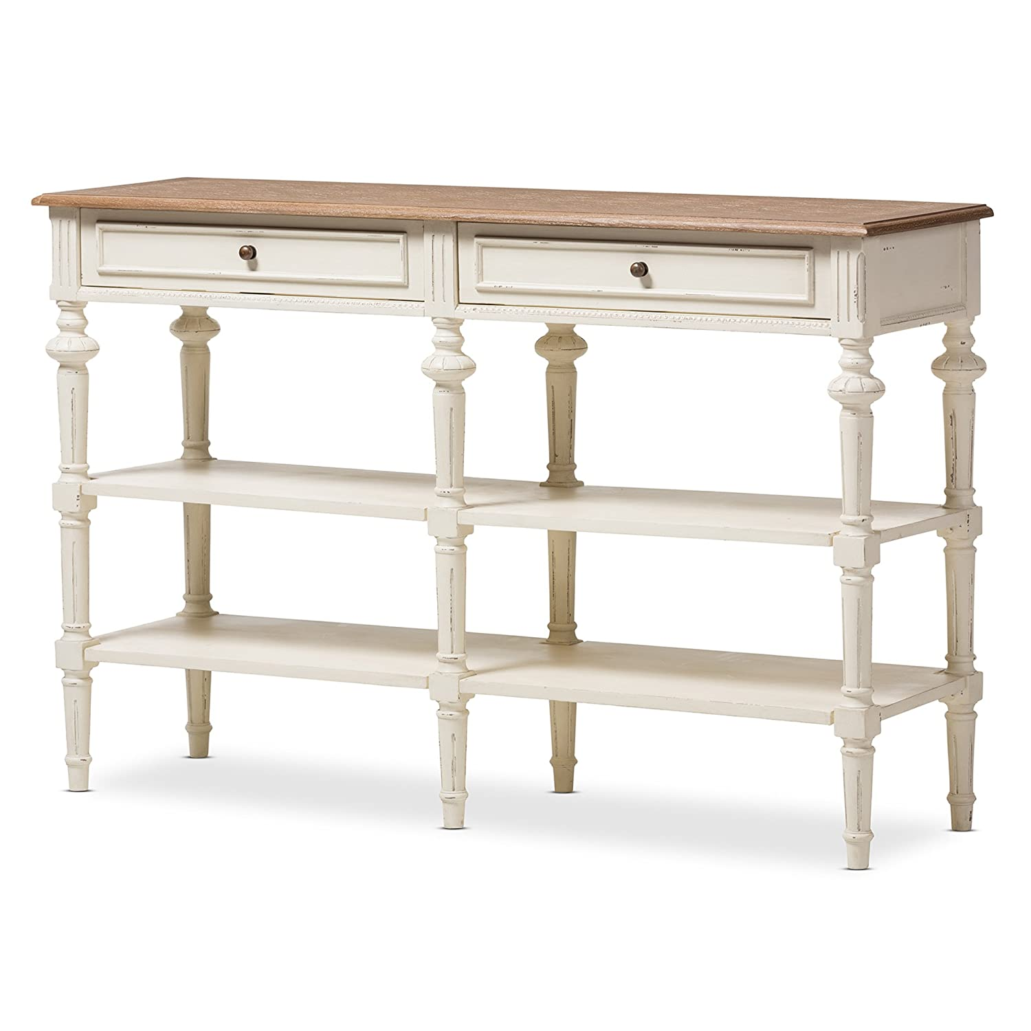 CDM product Baxton Studio Emeline French Provincial Weathered Oak and Whitewash Console Table, White/Natural big image
