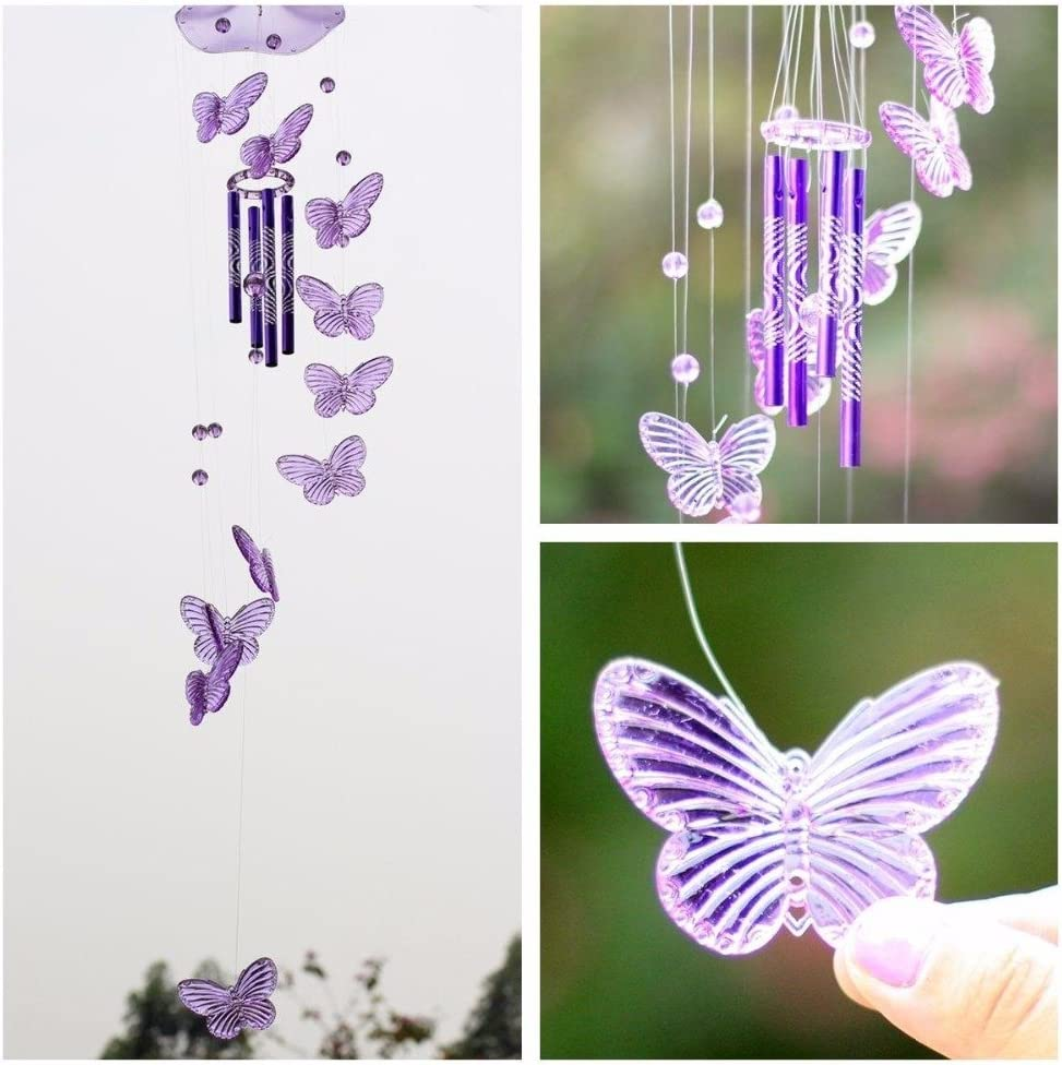 Crystal Butterfly Wind Chime Bell Garden Ornament Gift Yard Hanging Decor