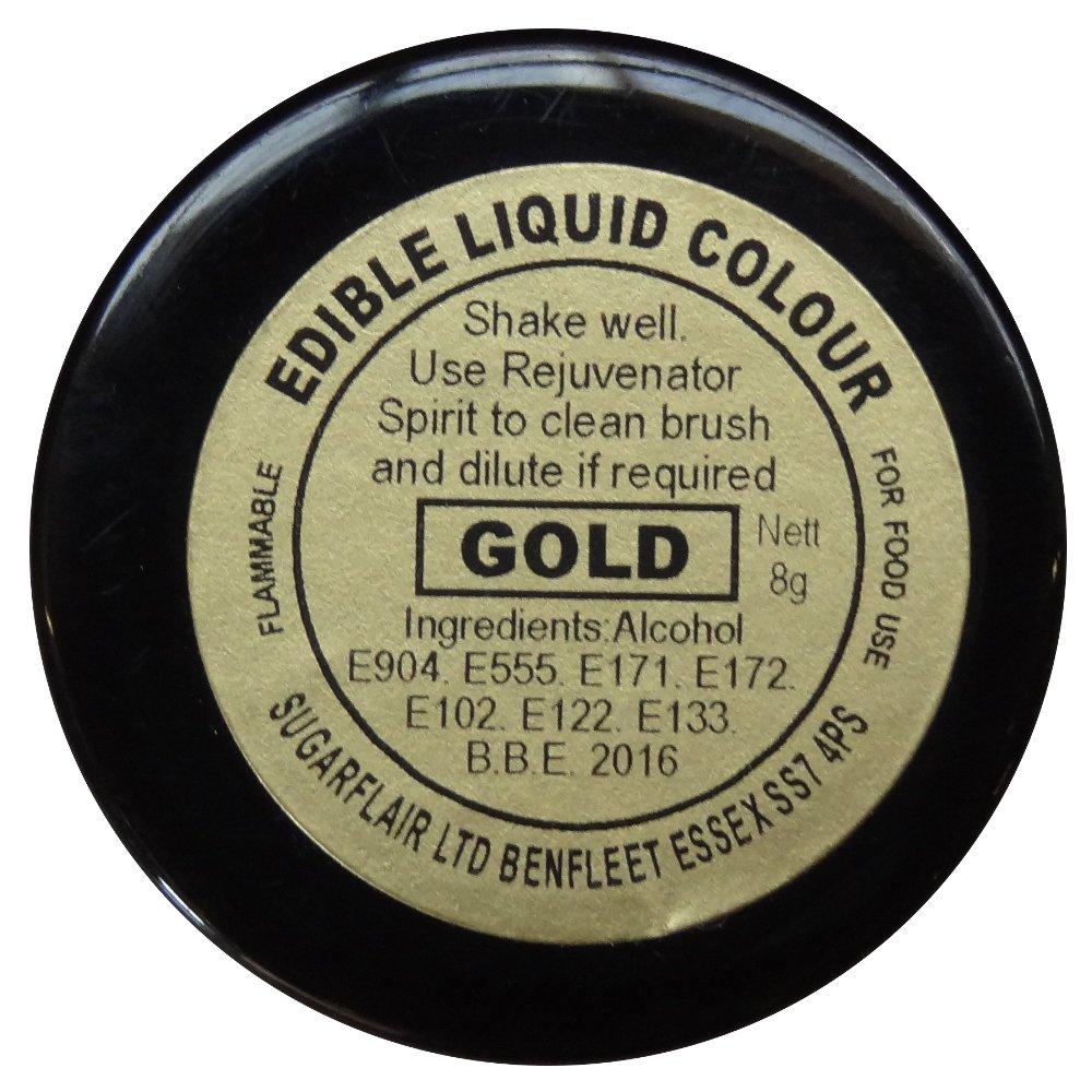 30 x Sugarflair GOLD Edible Liquid Colour Paint for Sugarcraft Cake Decoration