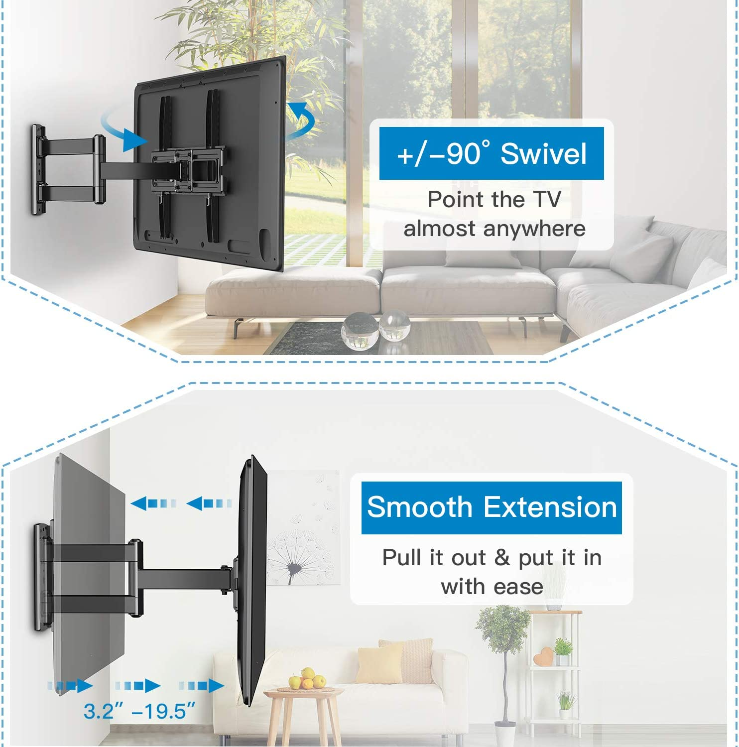 PERLESMITH TV Wall Mount Bracket Full Motion Single Articulating Arm for Most 32-55 Inch LED, LCD, OLED, Flat Curved TVs with Tilt, Swivel and Rotation up to 77lbs VESA 400x400mm