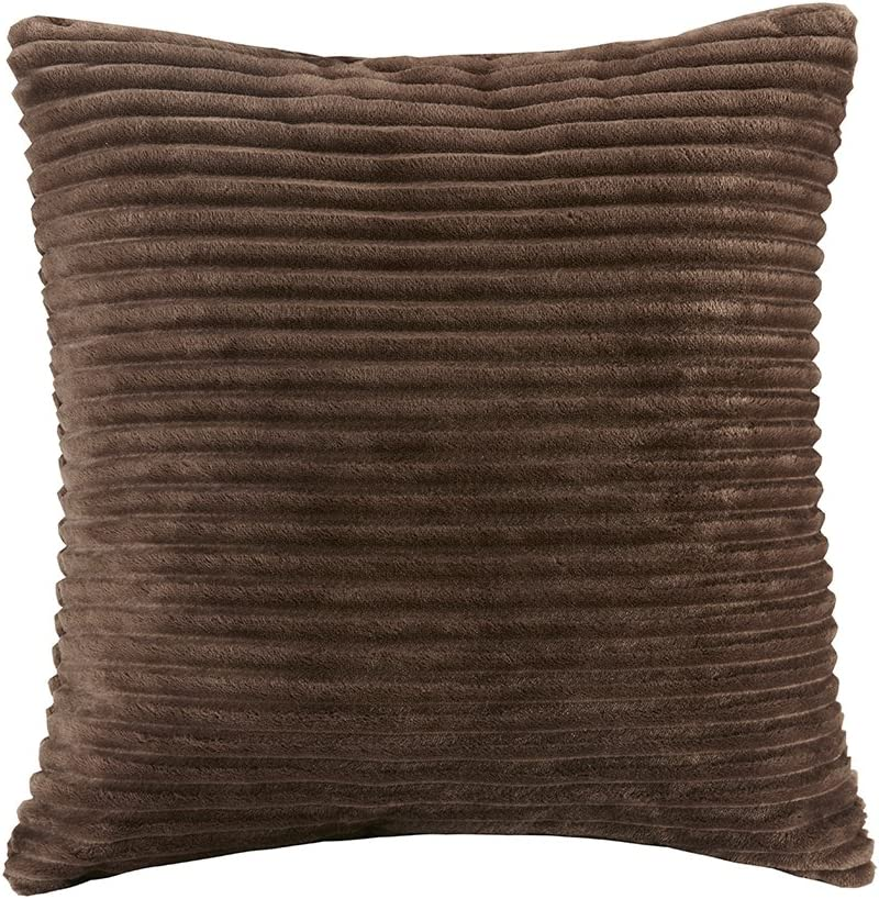 """Premier Comfort Parker Corduroy Plush Accent Throw Pillow, Lodge/Cabin Square Decorative-Pillow for Bed, Coach or Sofa, 20"""" X 20"""", Brown"""