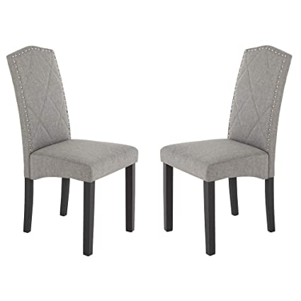 Tremendous Mid Century Modern Style Dining Chairs Set Of 2 Gray Fabric And Comfortable Chairs Sturdy Wood Chair Gmtry Best Dining Table And Chair Ideas Images Gmtryco