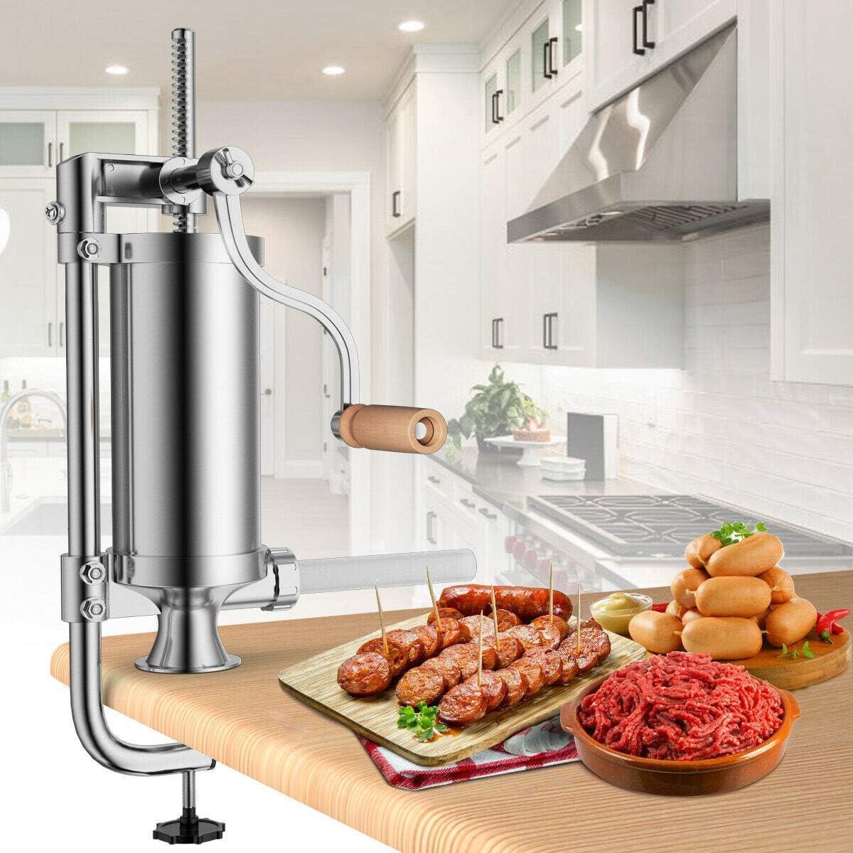 Songlela Manual Sausage Filler Maker, Meat Stuffer Filler Hand Operated Machine Silver, #2-2.5