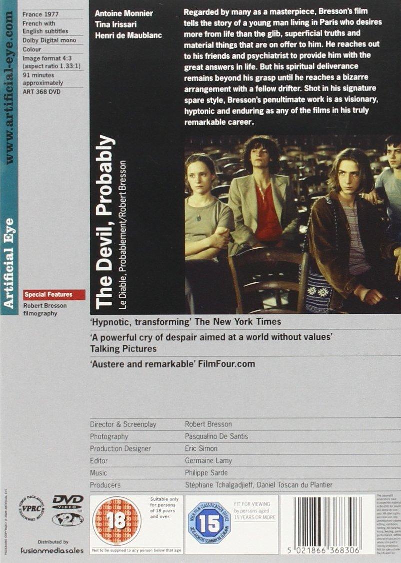The Devil, Probably [Reino Unido] [DVD]: Amazon.es: Antoine Monnier, Tina Irissari, Henri de Maublanc, Robert Bresson: Cine y Series TV