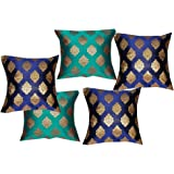 PINK PARROT Dopian Silk Cushion Covers (12x12inch, Navy Blue and Greenish Blue)- Set of 5