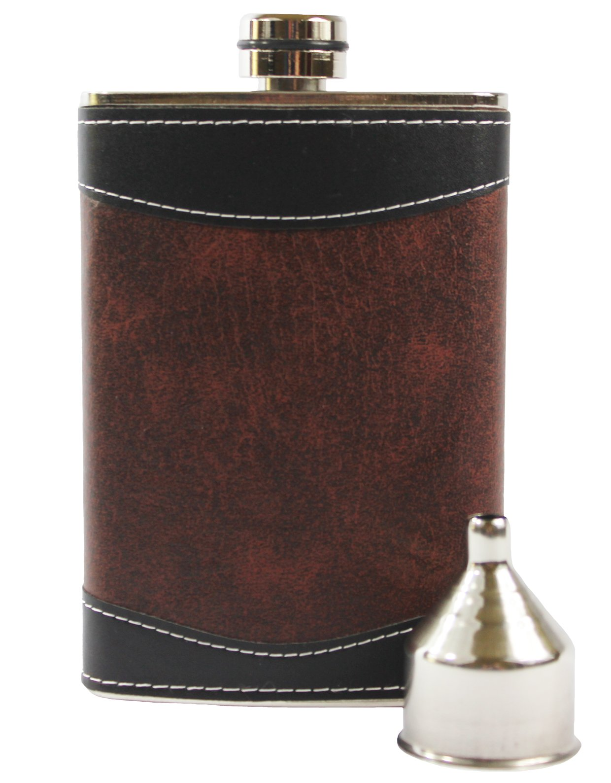 Primo Liquor Flasks 8oz Stainless Steel 18/8#304 Brown/Black PU Leather Premium/Heavy Duty Hip Set - Includes Funnel and Gift Box