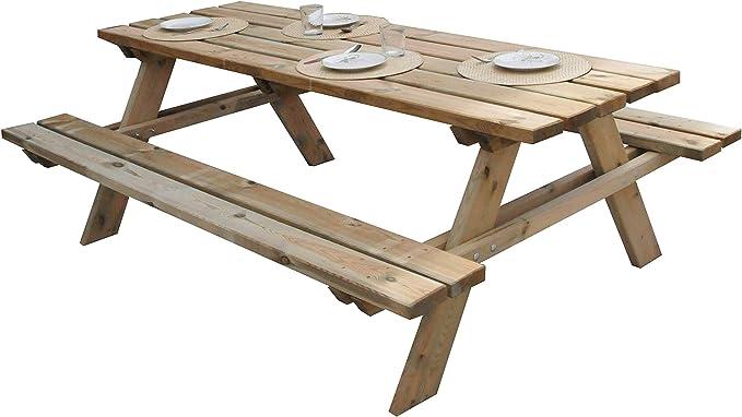 Tavolo Da Picnic Legno Gardiun Solid 200x148x70 Cm E 35 45 Mm Amazon It Giardino E Giardinaggio