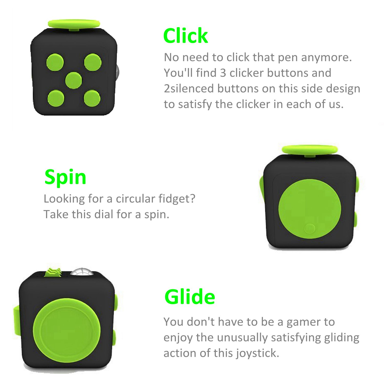 Amteker Fidget Cube Fidget Toy Anxiety Attention Stress Relief, and Break Nervous Habits for Children and Adults (Black and Green)
