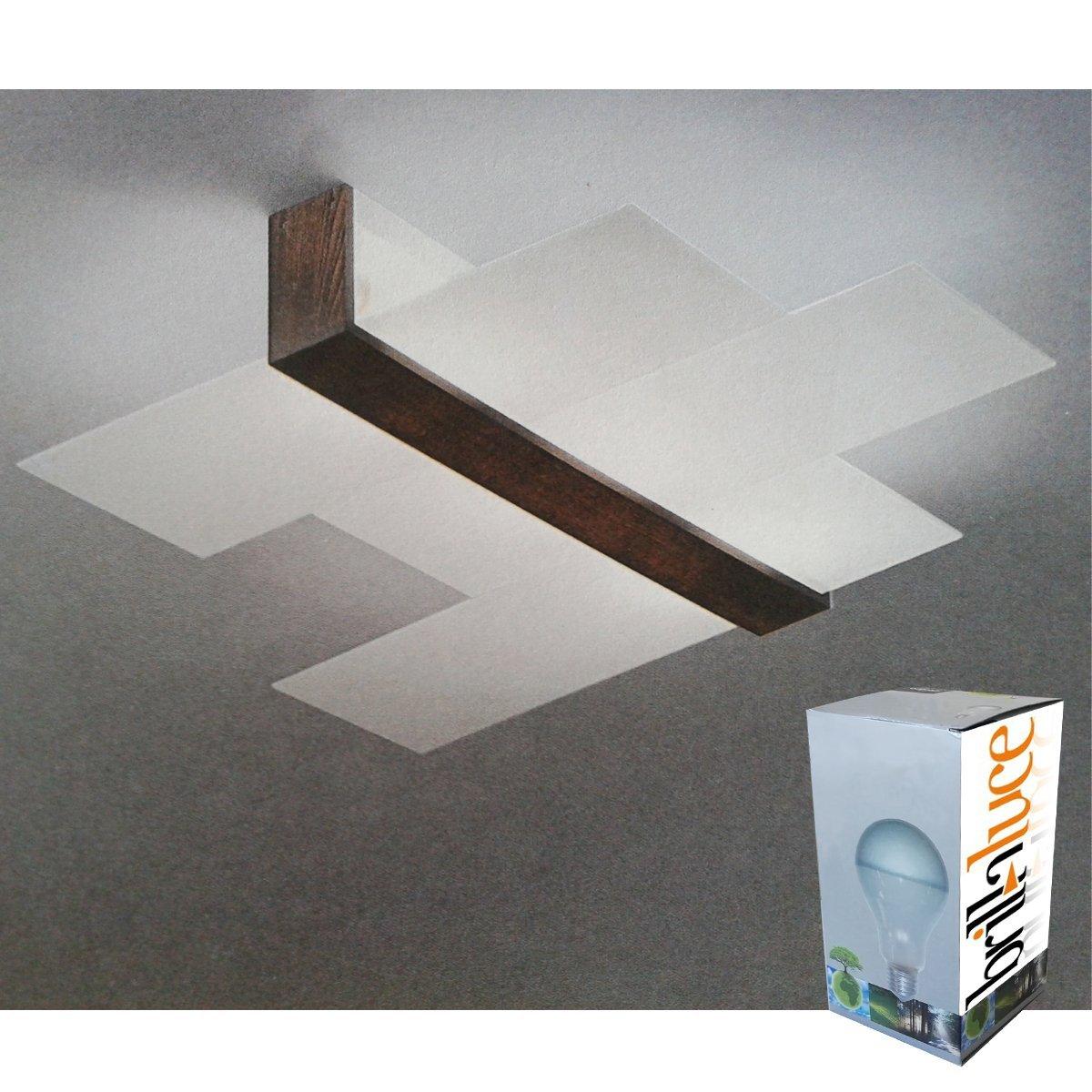 Linea Light - Triad plafoniera moderna dettagli noce: Amazon.it ...