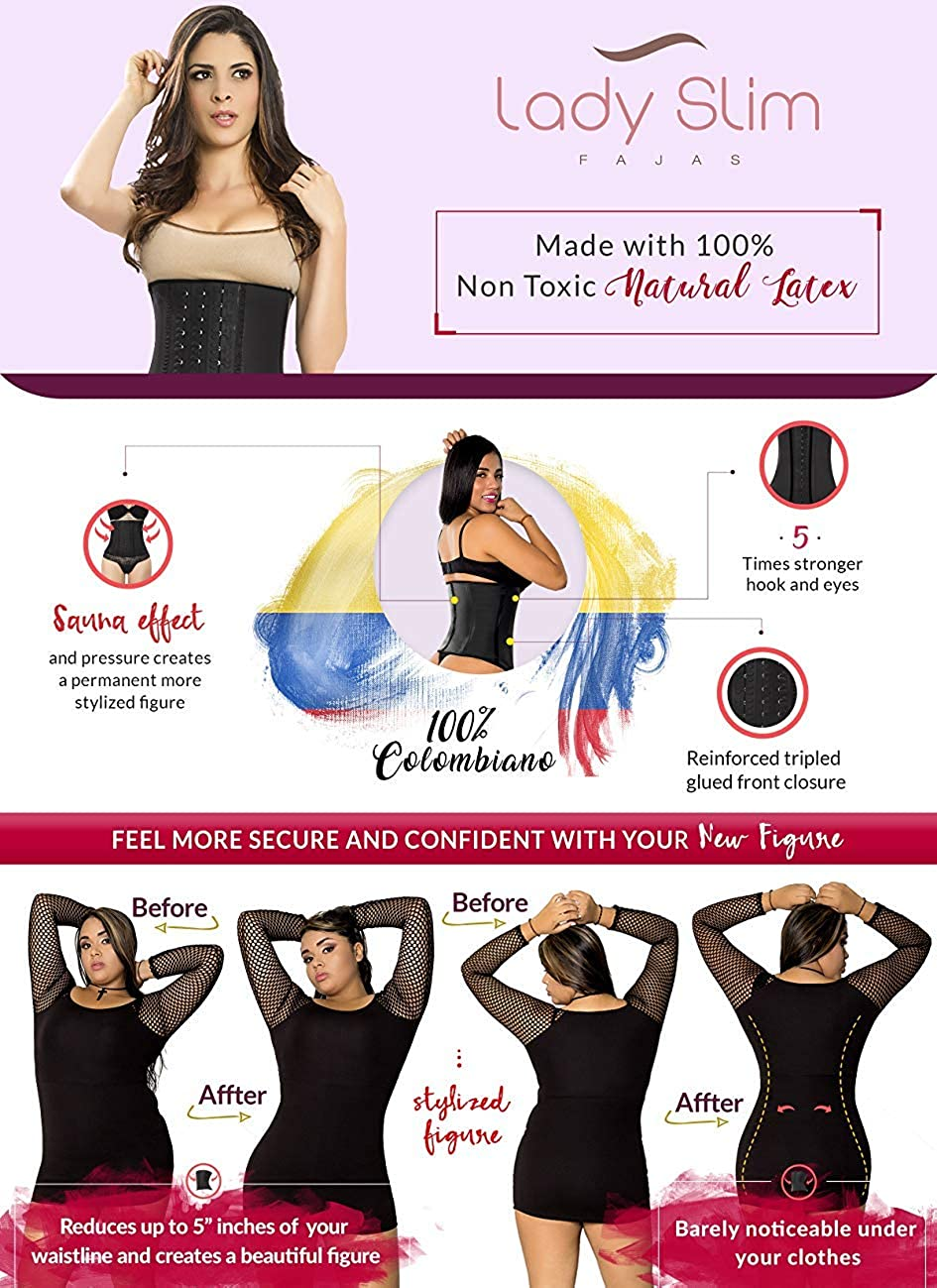 Lady Slim Fajas Colombiana Latex Waist Trainer Cincher Trimmer Corset Weight Loss Shaper at  Women's Clothing store