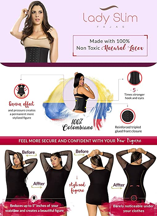 LadySlim by NuvoFit Fajas Colombiana Latex Waist Trainer/Cincher/Trimmer/Corset Weight Loss Shaper Black V2 2XS