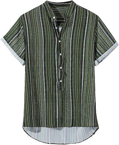Hombre Camisetas de Manga Corta de Rayas Básico Camisas de ...