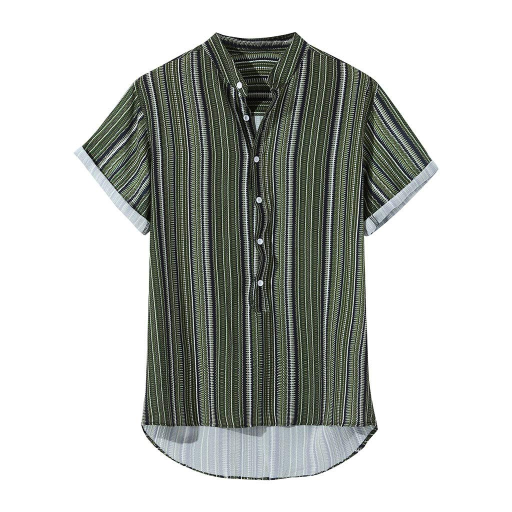Mens Tropical Hawaiian Button Shirts Multi Color Lump Chest Short Sleeve Round Hem Tee (L, Green) by Doad T-Shirt