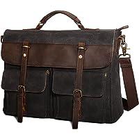 Large Messenger Bag for Men Tocode, Vintage Waxed Canvas Satchel Leather Briefcases Crossbody Shoulder Bags, 15.6 inch Computer Laptop Bags Water Resistant Travel School Work Bag Black (Black)