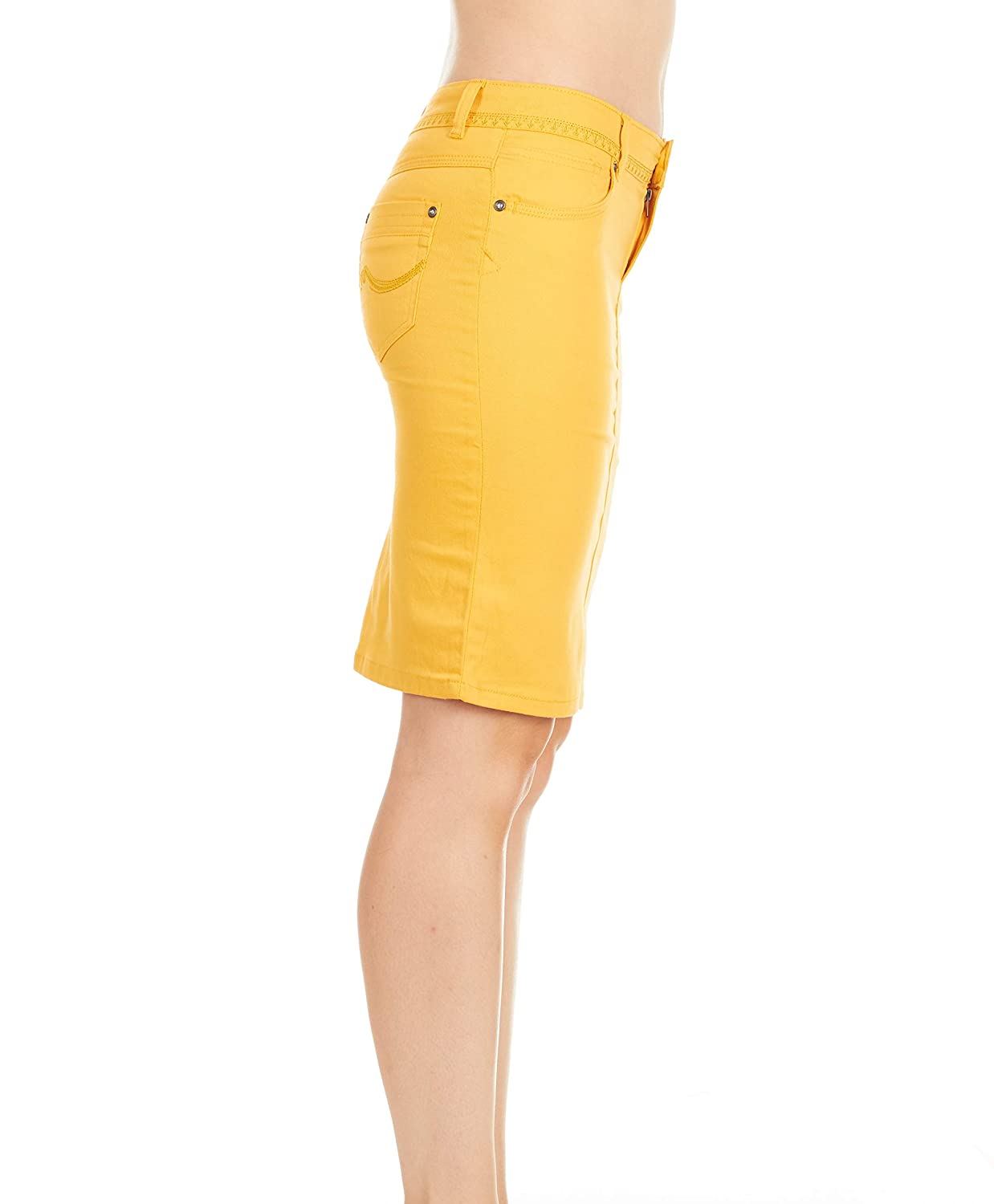 Fgr Girls 7-16 Soft Stertchy Cotton Color Pencil Skirt Plain Casual in 4 Colors