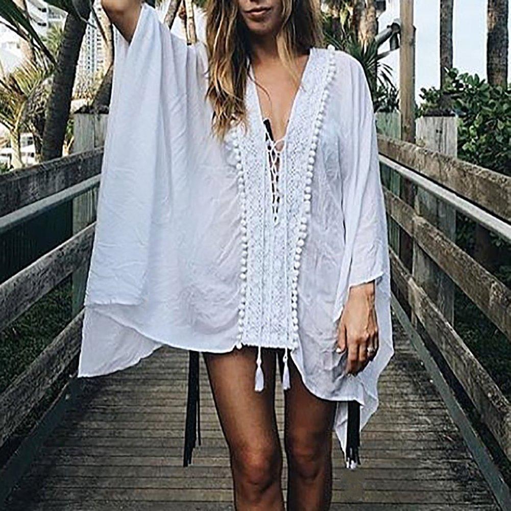 iBaste Bikinis Cover up Blusas Mujer Cordón Lace up Bola de Borla Traje de Baño Blusa Camisa Sarong de Playa: Amazon.es: Ropa y accesorios