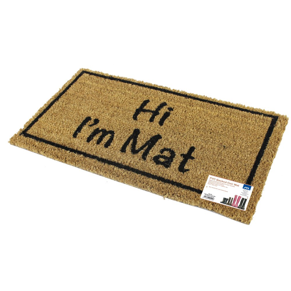 JVL Novelty PVC Backed Coir Hi I'm Mat Entrance Door Mat, Vinyl ...