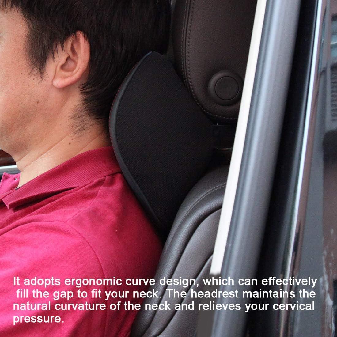Coj/ín Cervical con Soporte de Cuello para el Asiento del Coche con Espuma de Memoria para Conducir HCMAX Almohada para el Reposacabezas del Coche con Cubierta Extra/íble