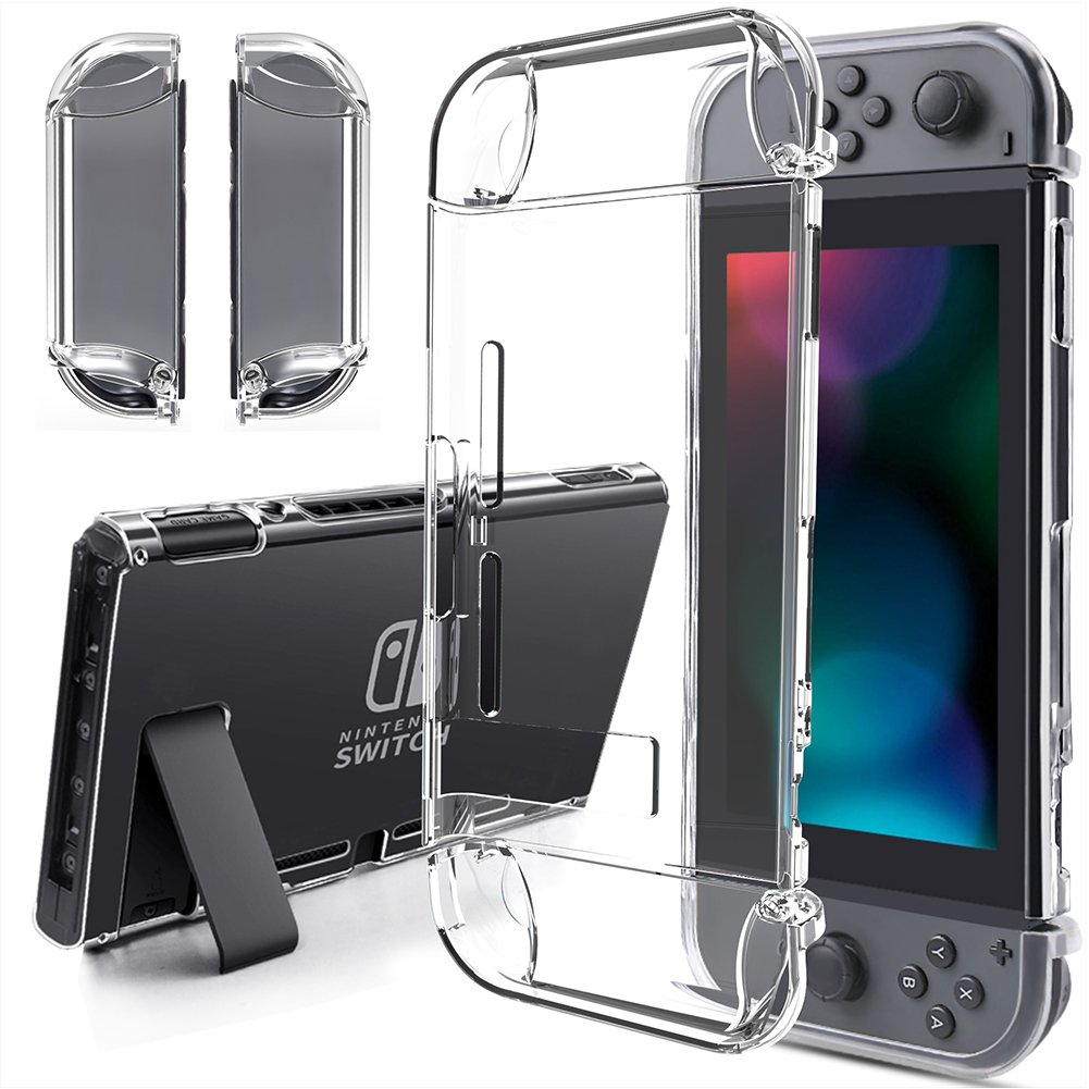 Switch Case,Findway  Switch Premium Crystal Clear Shock Absorption Technology Bumper Soft Protective TPU Cover Case for Switch Console & Accessories by findway